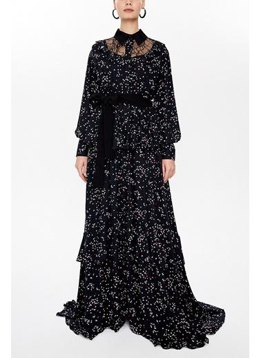 Societa Dantelli Ve Fırfırlı Gömlek Elbise 92963 Siyah